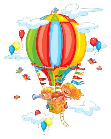 Illustration for Cartoon kids riding hot air balloon. Funny cartoon character. Vector illustration. Isolated on white background - Royalty Free Image