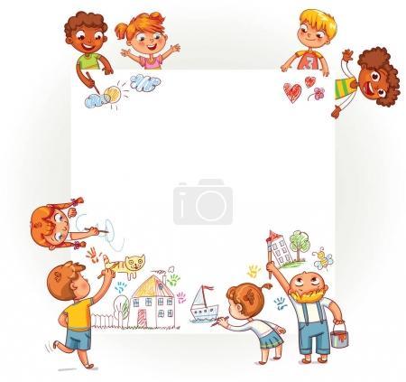 Illustration pour Différents enfants dessinent sur une grande affiche. Des enfants heureux tenant une affiche vierge. Modèle de brochure publicitaire. Prêt pour votre message. Espace pour le texte. Drôle de personnage de dessin animé. Illustration vectorielle - image libre de droit