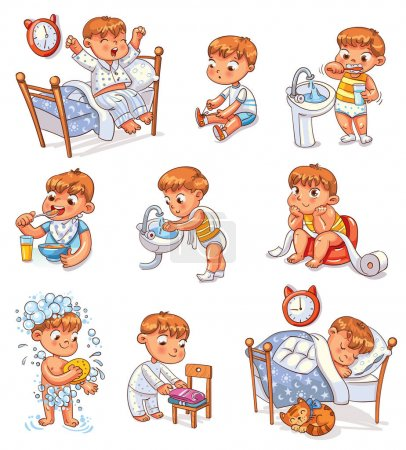 Illustration pour Daily routine activities. Baby sitting children's pot. Boy brushing his teeth. Kid neatly folds his clothes. Boy washes his hands. Child taking shower. Wake up in morning. Eating breakfast. Set - image libre de droit