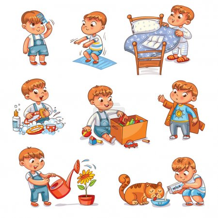 Illustration for Daily routine. Child is combing his hair. Boy washes dishes. Kid is putting his toys in a box. Child makes bed. Kid himself clothes. Boy doing fitness exercise. Baby feeds a pet. Watering flowers. Set - Royalty Free Image