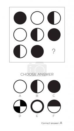 Illustration for IQ test. Choose correct answer. Logical tasks composed of geometric shapes. Vector illustration - Royalty Free Image