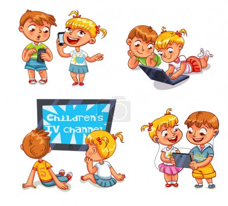 Children and technical progress. Funny cartoon character