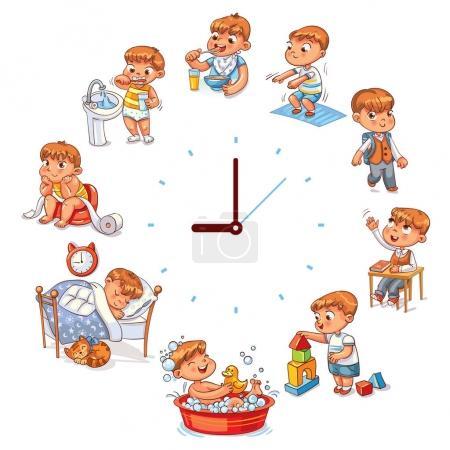 Illustration pour Routine quotidienne avec des montres simples. Vector sertie de petit garçon. Personnage de dessin animé drôle. Illustration vectorielle. Isolé sur fond blanc - image libre de droit