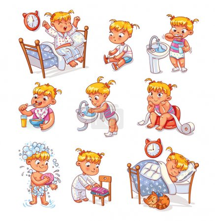 Illustration pour Daily routine activities. Baby sitting children's pot. Girl brushing her teeth. Kid neatly folds his clothes. Girl washes her hands. Child taking shower. Wake up in morning. Eating breakfast - image libre de droit
