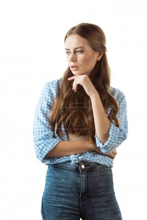 pensive  woman in casual clothing