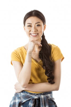 Photo for Portrait of smiling asian woman with hand on chin isolated on white - Royalty Free Image