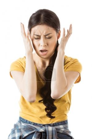 Young stressful asian girl with gesture