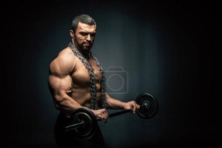 athletic man weightlifting
