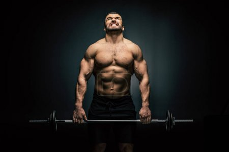 Photo for Portrait of shirtless athletic man weightlifting isolated on black - Royalty Free Image