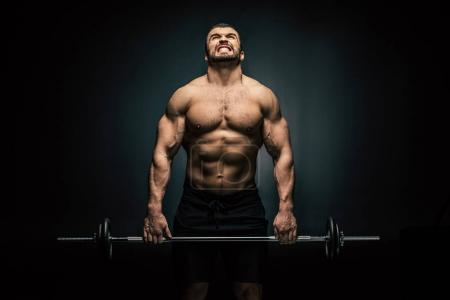 athletic man weightlifting