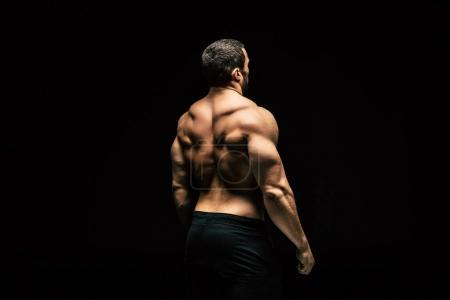 Photo for Back view of shirtless sportive man showing muscles isolated on black - Royalty Free Image