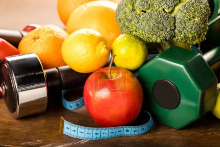 Healthy food and sports equipment