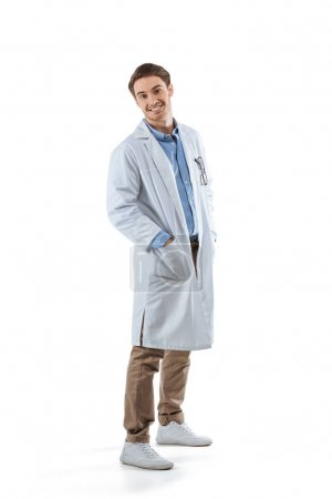 cheerful chemist in white coat