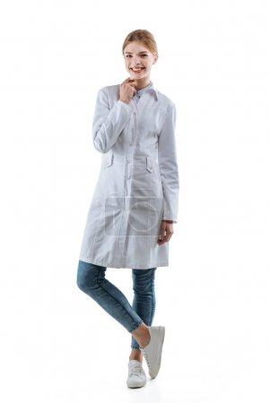 female chemist in white coat