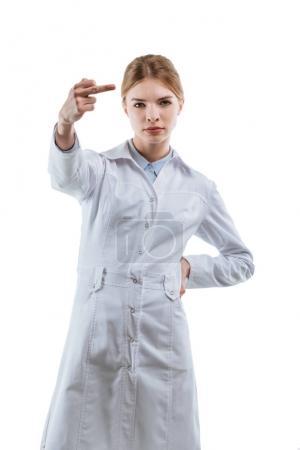 chemist showing middle finger