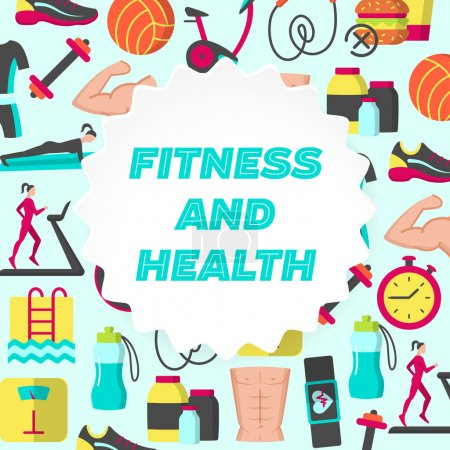 Fitness and health flat poster