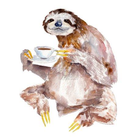 Photo pour Illustration aquarelle de paresseux avec tasse de café, isolé sur fond blanc - image libre de droit