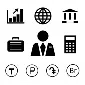 Finance and bank icons with currency symbols