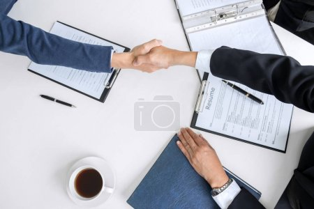 greeting new colleagues, Handshake while job interviewing, male