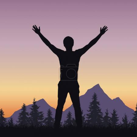 Realistic silhouette of a man welcoming sunrise in a mountain landscape with a forest - vector