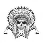 American Indian Chief Skull With Tomahawk