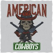 Cowboy t-shirt label design with illustration of skull ath the hat with two guns at the hands