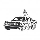 Isolated illustration of girl washes car