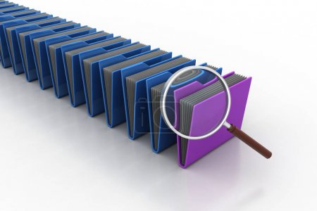 Photo for Magnifying glass with file folder - Royalty Free Image