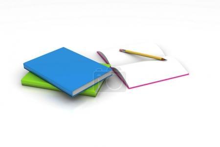 Photo pour Livres et un crayon, le concept de l'éducation - image libre de droit
