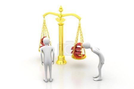 Photo pour 3d personnes regardant le taux de change - image libre de droit