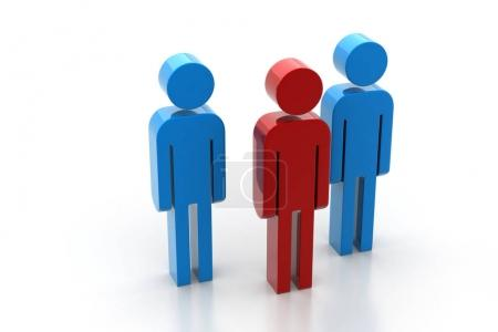 3d people and leader