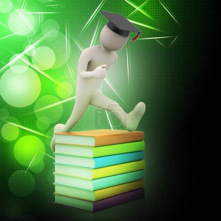 Photo pour Étudiant avec chapeau Saut de joie titulaire d'un diplôme . - image libre de droit