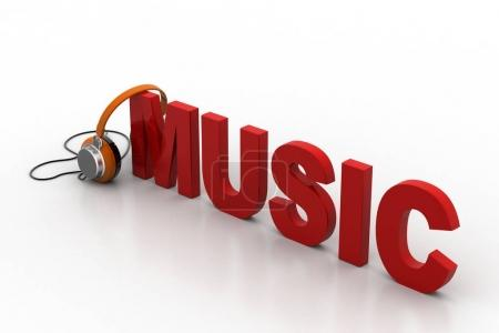 Photo for Word music with head phone - Royalty Free Image