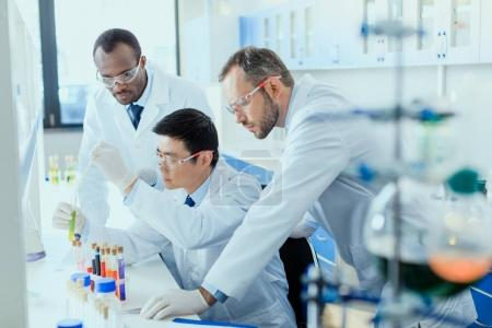 Photo for Professional scientists in white coats working together in chemical laboratory - Royalty Free Image