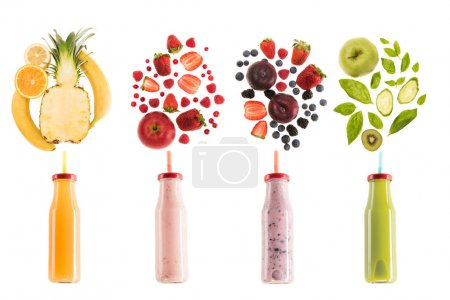 Photo for Different healthy smoothies in bottles with fresh ingredients isolated on white, fresh fruit smoothie concept - Royalty Free Image