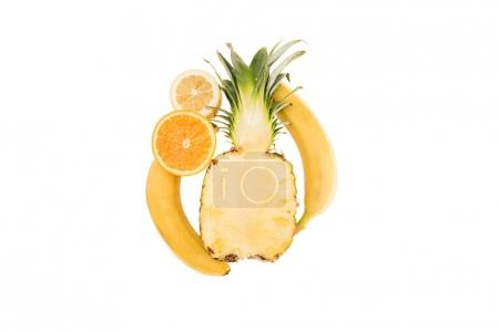 Photo pour Différents fruits tropicaux jaunes biologiques isolés sur blanc avec espace de copie - image libre de droit