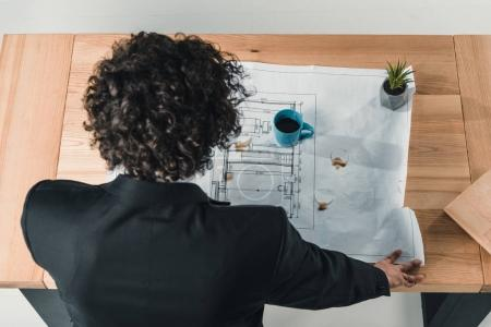 Photo for Rear view of businessman working with blueprints at workplace in office - Royalty Free Image