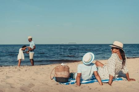 african american family on beach