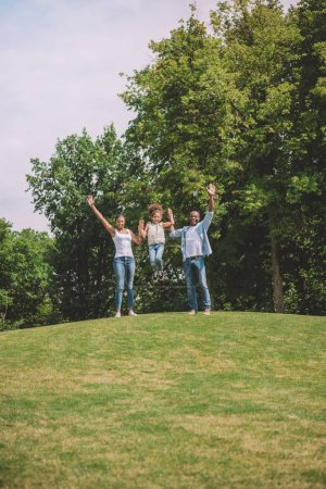 Photo for Happy african american family with outstretched arms standing on green lawn at countryside - Royalty Free Image