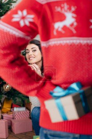 man making surprise for girlfriend