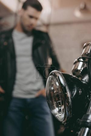 headlight of classic motorcycle