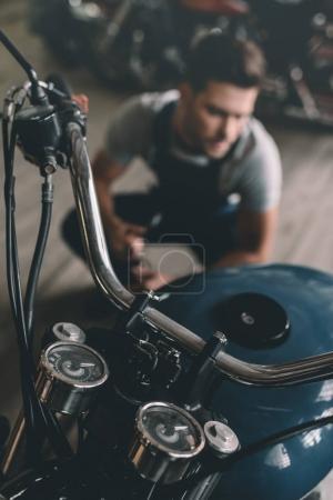 classic motorbike in garage