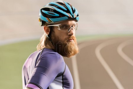 cyclist in helmet and goggles