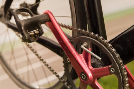 Photo for Close up view of bicycle wheel, pedal and chain - Royalty Free Image