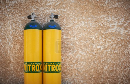 Yellow scuba tanks with nitrox