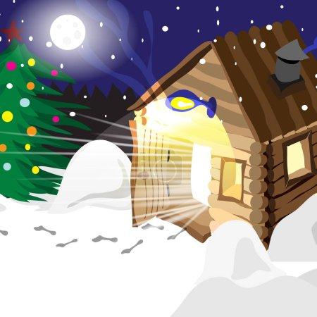 Dessin bains chauds hiver russe dans la nuit de Noël