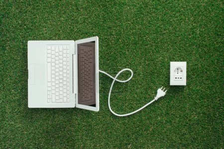 Photo for Electrical power socket on the grass and laptop with a plug, green renewable energy and power generation concept - Royalty Free Image