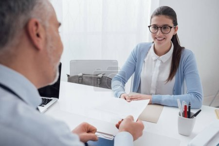 Young woman having job interview