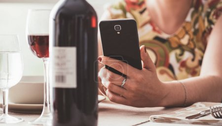 Woman having lunch at restaurant