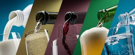 Photo pour Verser des boissons dans des verres collection de photos, lait, vin blanc, vin rouge, bière et eau - image libre de droit